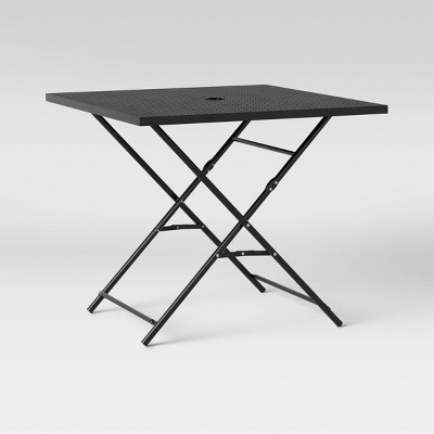 """32"""" Metal Punched Square Patio Folding Table - Black - Room Essentials™"""