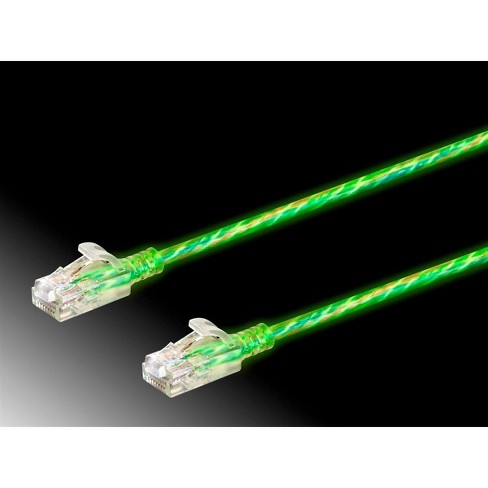 Monoprice Cat6 Ethernet Patch Cable - 3 feet - Glow  Glow in the Dark, Snagless RJ45 Stranded 550MHz UTP Pure Bare Copper Wire 28AWG - SlimRun Series - image 1 of 4