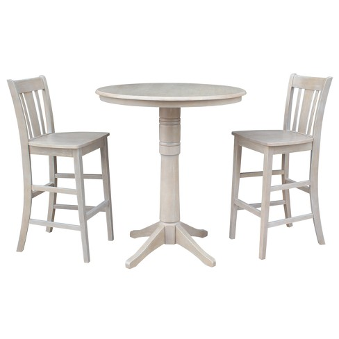 Amazing Round Top 36 X 36 Solid Wood Pedestal Bar Height Table And 2 Stools Weathered Gray 3Pc Set International Concepts Ncnpc Chair Design For Home Ncnpcorg