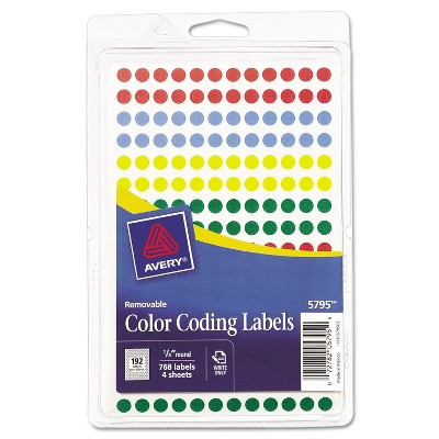 """Avery Handwrite Only Removable Round Color-Coding Labels 1/4"""" dia Assorted 768/Pack 05795"""