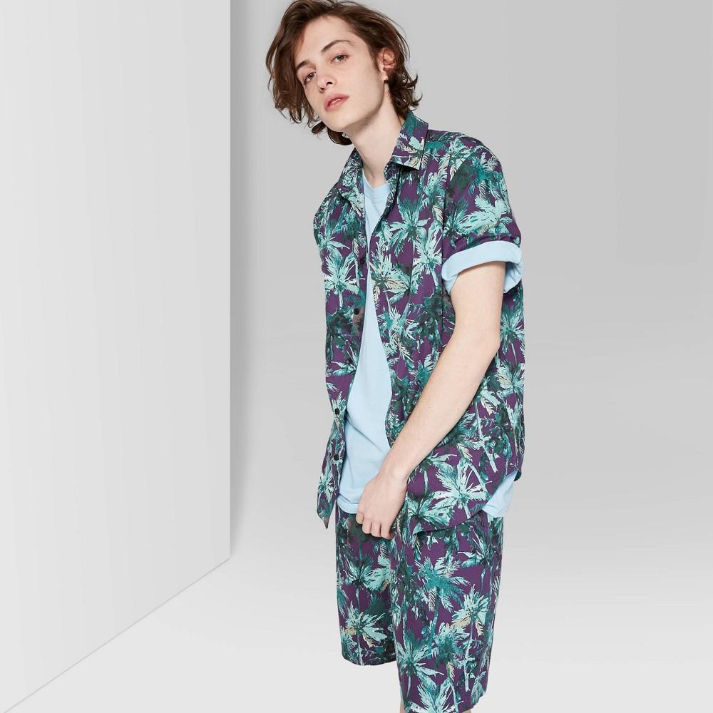 Best Shopping Men Printed Short Sleeve Button Down Shirt Original Use Deep Plum 2XL