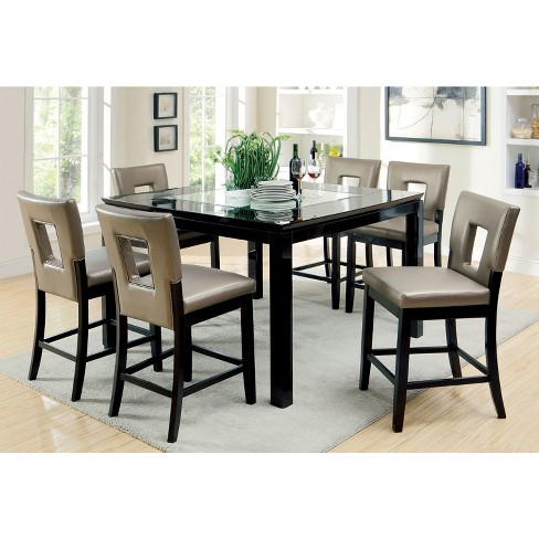 Iohomes 7pc Glass Insert Table Top Counter Dining Table Set Wood