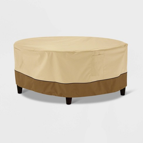 Veranda Round Patio Ottoman Coffee Table Cover Light Beige S
