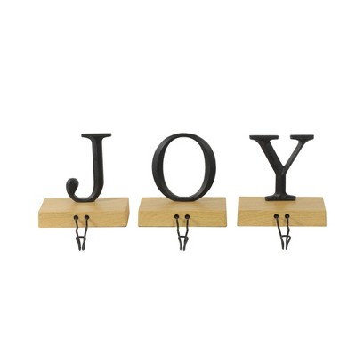 """Northlight Set of 3 Metal and Wood """"JOY"""" Weighted Christmas Stocking Holder 6"""""""