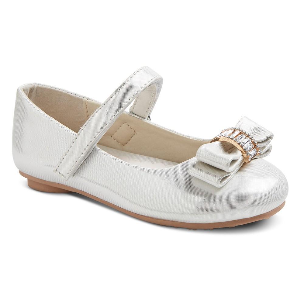 Toddler Girls' Embellished Bow Ballet Flats - Light Silver 10