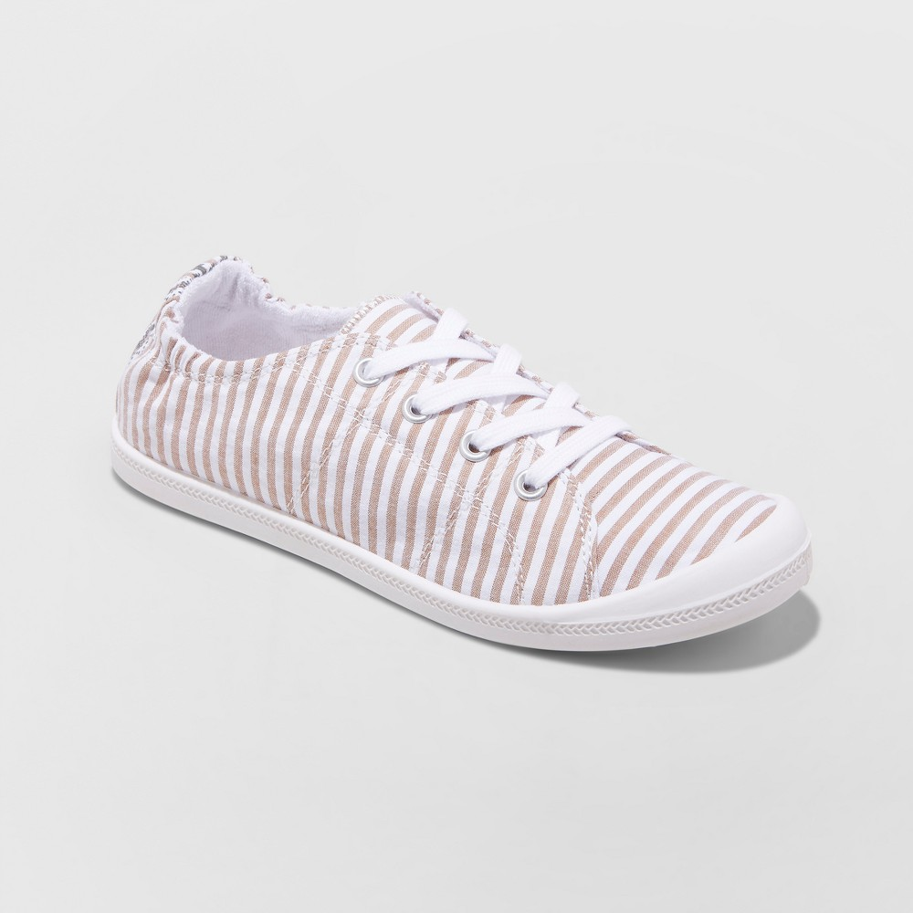 Women's Mad Love Lennie Lace up Canvas Flexible Bottom Sneakers - Taupe (Brown) 6