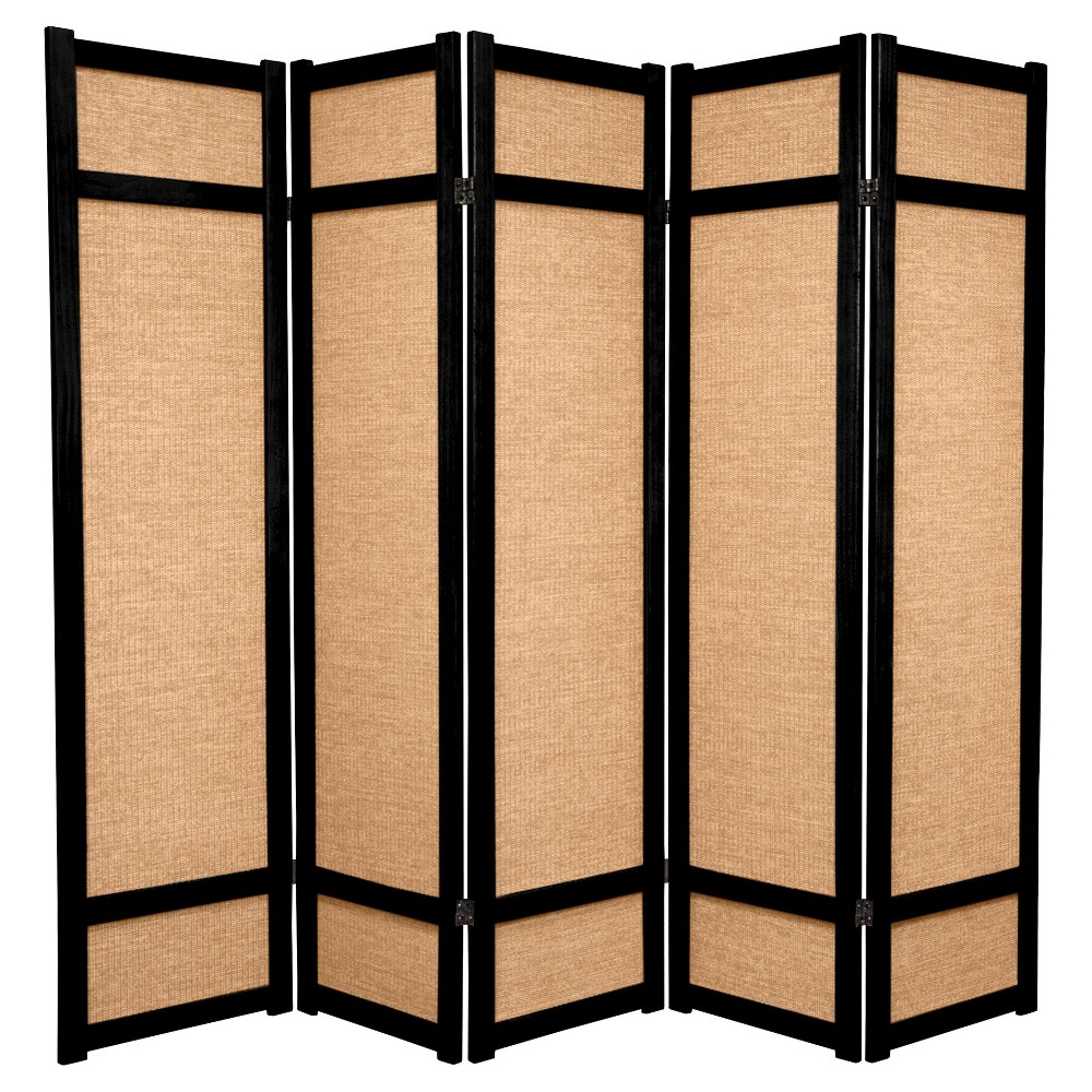 6 ft. Tall Jute Shoji Screen - Black (5 Panel)