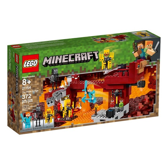 LEGO Minecraft The Blaze Bridge 21154 Toy Battle Building Kit with Bridge and Lava 370pc image number null