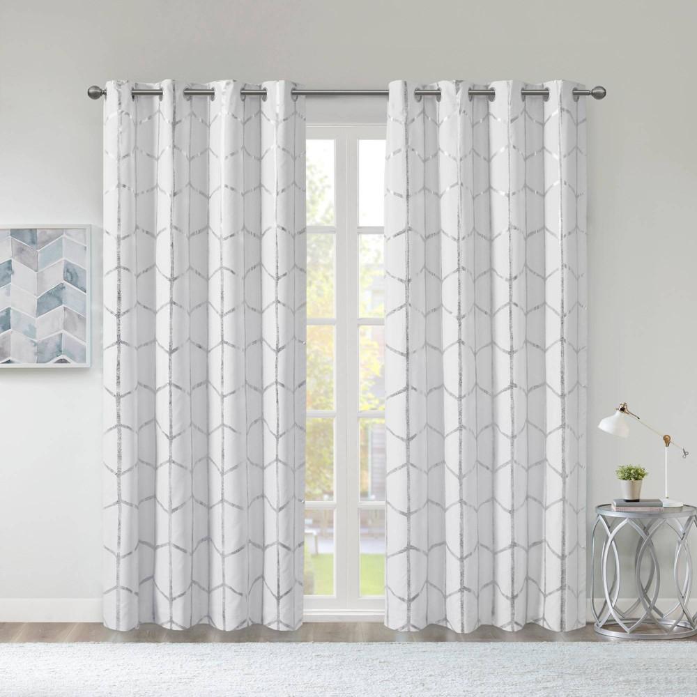 """Cheap 63""""x50"""" Arielle Total Blackout Metallic Printed Curtain Panel"""