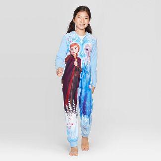 Girls' Frozen Wearable Blanket Sleeper Union Suit - Blue L
