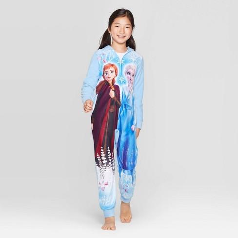 Girls' Frozen Wearable Blanket Sleeper Union Suit - Blue : Target