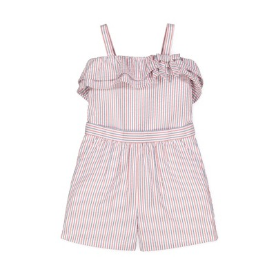 Hope & Henry Girls' Sleeveless Woven Ruffle Edge Romper, Kids