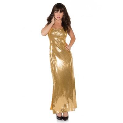 Underwraps Costumes Gold Shimmer Long Sequin Dress Adult Costume