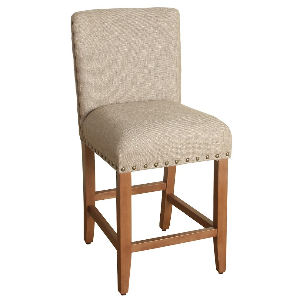24 Upholstered Counter stool with nailheads Tan - HomePop was $129.99 now $97.49 (25.0% off)