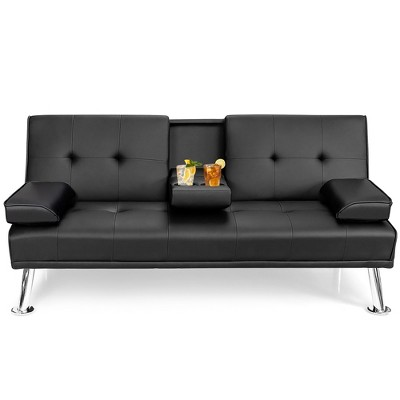 Costway Convertible Folding Futon Sofa Bed Leather w/Cup Holders&Armrests White\Black\Brown