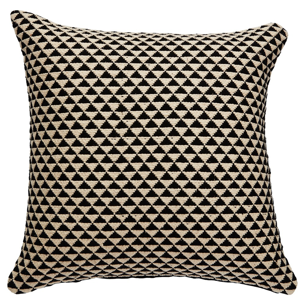 Black Global Medallion Down Fill Throw Pillow (22