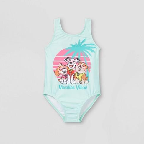 Toddler Girls' PAW Patrol One Piece Swimsuit - Aqua - image 1 of 2