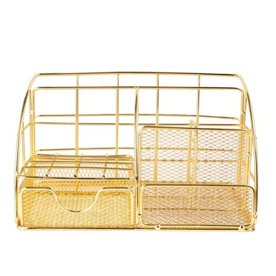 Zodaca Glossy Gold Desk Organizer, with Drawer Pen Holder, Metal Mesh Office Accessories for Women