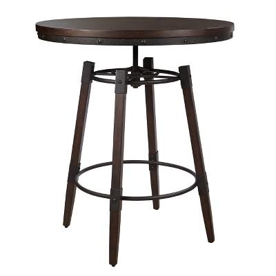 Vintage Industrial Style Adjustable Height Bar Table   Brown   Pulaski