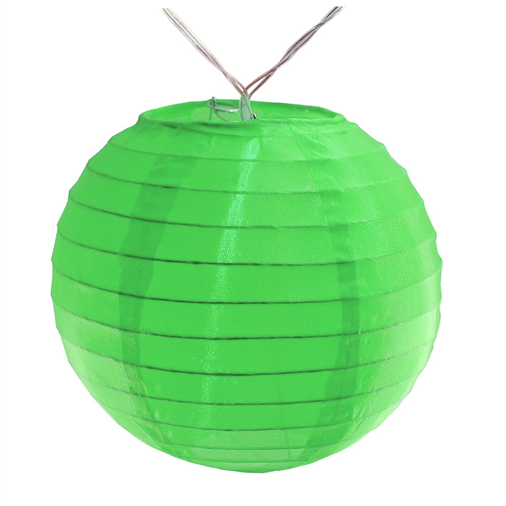Image of 10ct Nylon LED Battery Powered String Lights Green