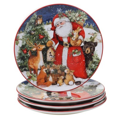 "11"" 4pk Earthenware Magic of Christmas Santa Dinner Plates - Certified International"