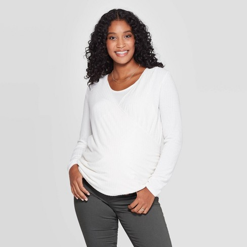 Maternity Long Sleeve Cozy Ribbed Nursing Top - Isabel Maternity by Ingrid & Isabel™ Sour Cream - image 1 of 3