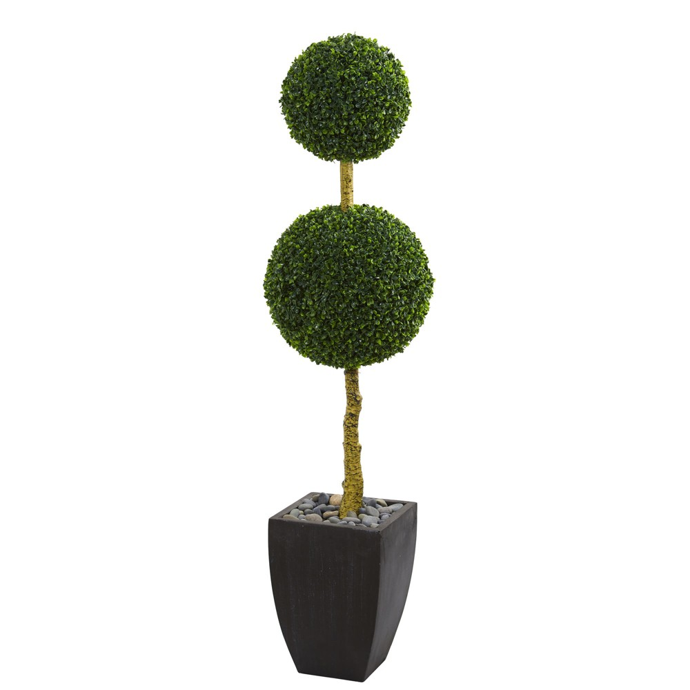 5ft Double Ball Boxwood Topiary Artificial Tree In Black Planter - Nearly Natural, Green