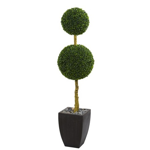 5ft Double Ball Boxwood Topiary Artificial Tree In Black Planter - Nearly Natural - image 1 of 1