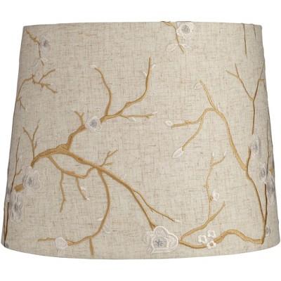 Springcrest Beige Plum Flower Embroidery Drum Shade 12x14x11 (Spider)