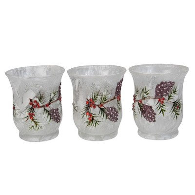 Melrose Set of 3 White and Clear Pine Branch Design Votive Candle Holders 3.5""