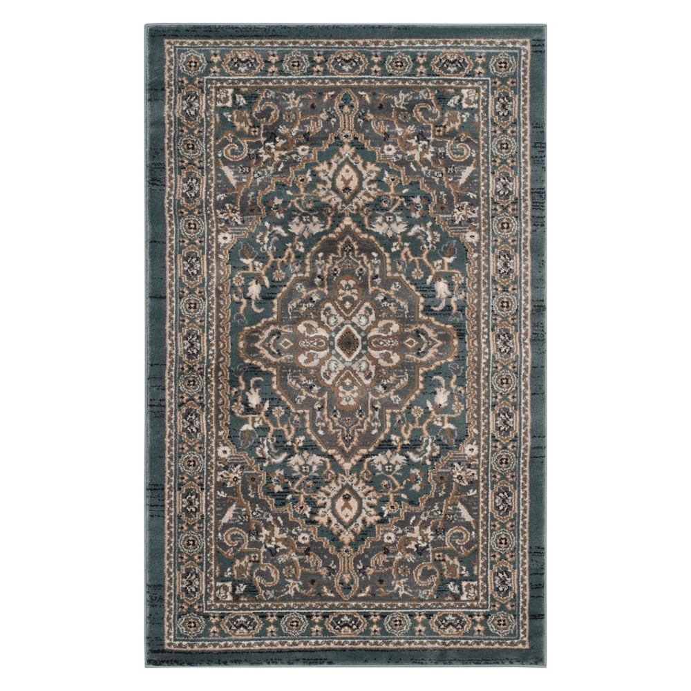 33X53 Medallion Loomed Accent Rug Teal/Gray - Safavieh Price