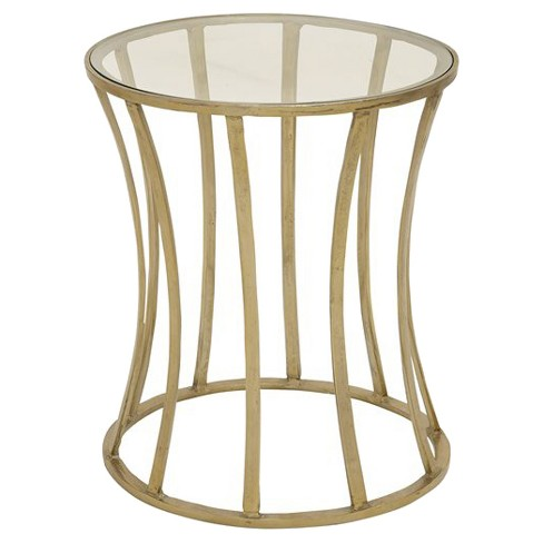 Shining Aluminum Glass Gold Accent Table - image 1 of 1