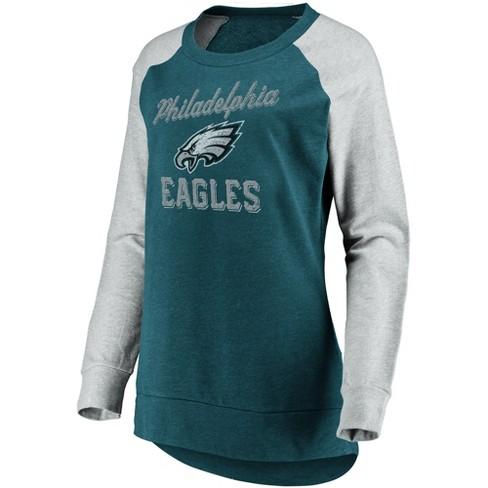 Nfl Philadelphia Eagles Womens Brushed Tunic Gray Crew Neck Fleece