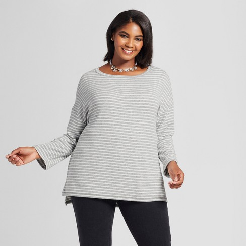 ef90fe3e2b5 Women s Plus Size Striped Pullover - Ava   Viv™ Gray   Target