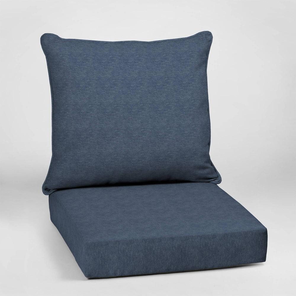 Alair Texture Deep Seat Outdoor Cushion Set Denim Blue - Arden Selections