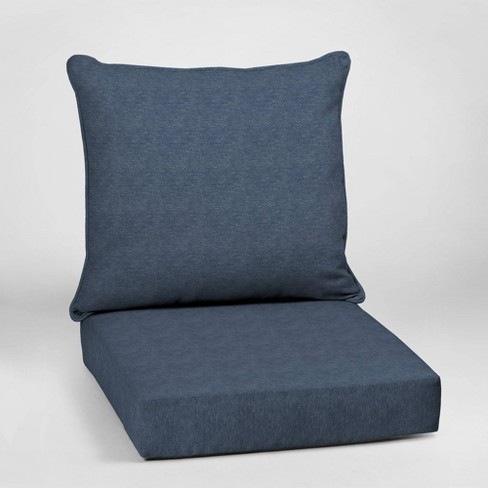 Alair Texture Deep Seat Outdoor Cushion Set Denim Blue - Arden Selections - image 1 of 2