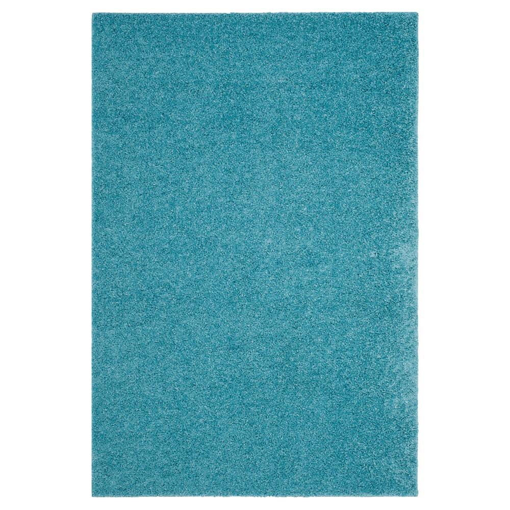 Aqua (Blue) Solid Loomed Area Rug - (5'1