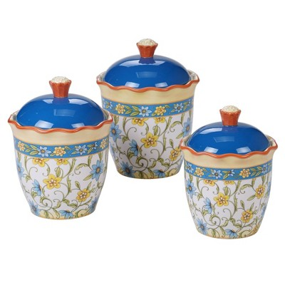 3pc Earthenware Torino Canister Set Blue - Certified International