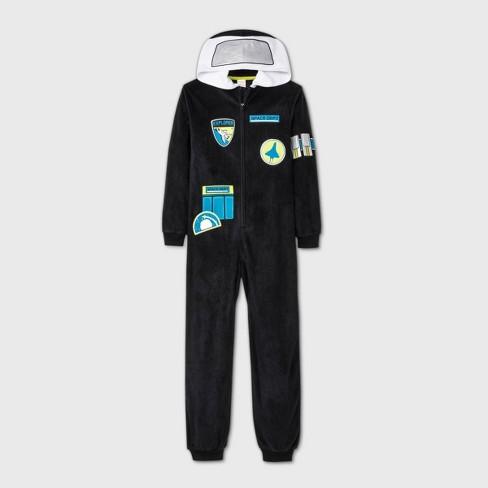 Boys' Micro Fleece Astronaut Union Suit - Cat & Jack™ Black - image 1 of 1