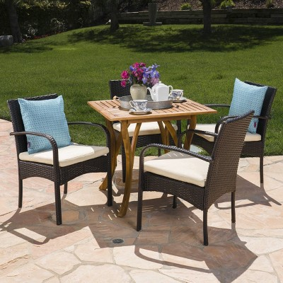 Hartford 5pc Acacia Wood and Wicker Dining Set - Teak/Cream - Christopher Knight Home
