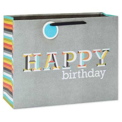 Medium Gift Bag Happy Birthday Letters On Gray - Spritz™