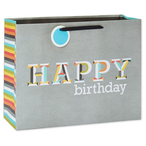 Gift Bag Happy Birthday Letters On Gray - Spritz™ - image 1 of 2