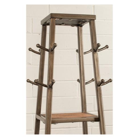 Crofton Coat Rack Metal Silver Black Rub Distressed Gray Finished Wood Hilale Furniture Target