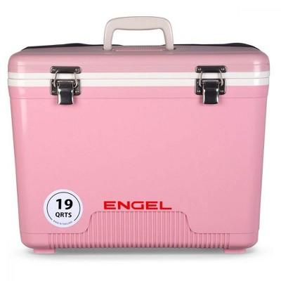 Engel 19 Quart Fishing Bait Dry Box Ice Cooler with Shoulder Strap, Pink