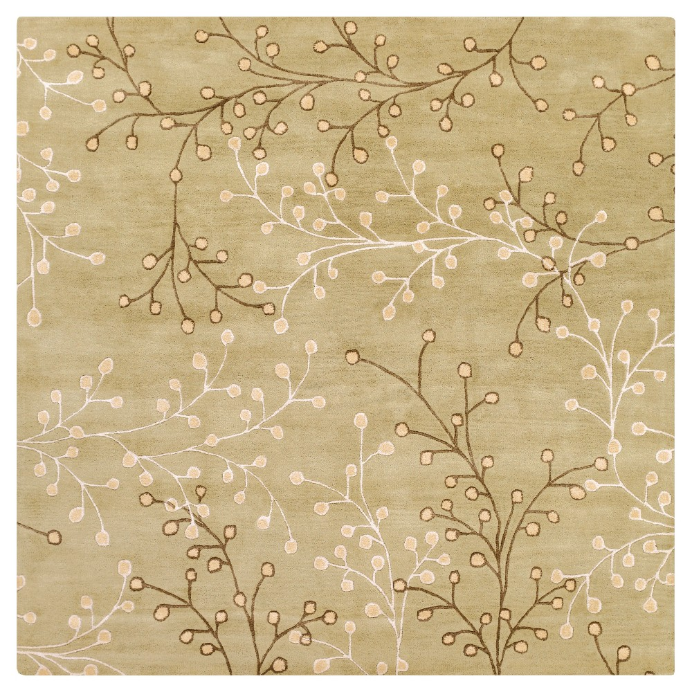 Taupe/Olive (Brown/Green) Botanical Area Rug (9'9 Square) - Surya