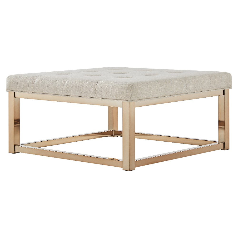 Fontaine Champagne Dimple Tufted Cocktail Ottoman Oatmeal - Inspire Q