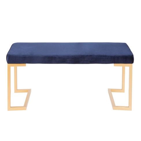 9645a71f40ba3 Midas Contemporary Entryway Dining Bench Gold With Blue Velvet ...