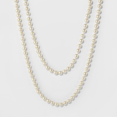Long Faux Pearl Necklace - A New Day™ Silver/White