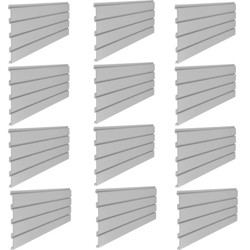 Suncast Storage Trends 4' Resin Wall Mount Slat for Storage Shed, Gray (12 Pack)