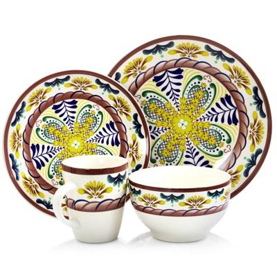 16pc Stoneware Color Gaze Dinnerware Set - Elama